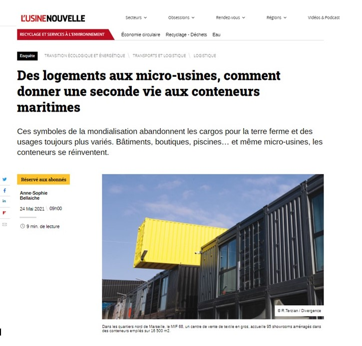 Article Usine Nouvelle Containers Solutions